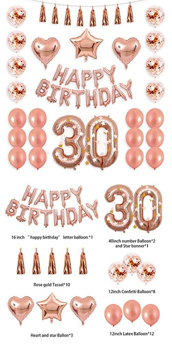 BALONA 40inch Rose Gold 30th Number Balloon 12inch Rose Gold Confetti Balloon with Happy Birthday Banner Star Balloon Heart Balloon Foil Rose Gold Tassel Garland for Birthday Party Decoration (Rose30)