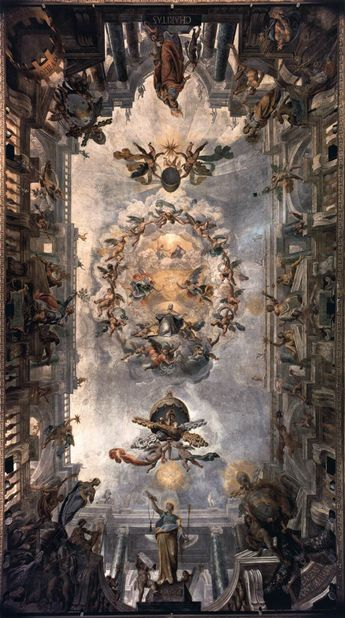 Saint Clement is depicted in glory, framed by a number of virtues and by huge cartouches with the papal coat of arms // Ceiling decoration, Sala Clementina // 1596-1602 // Giovanni ALBERTI // Fresco, Palazzo Pontifici, Vatican // #HolyTrinity #Heaven #angels #saints #VirginMary