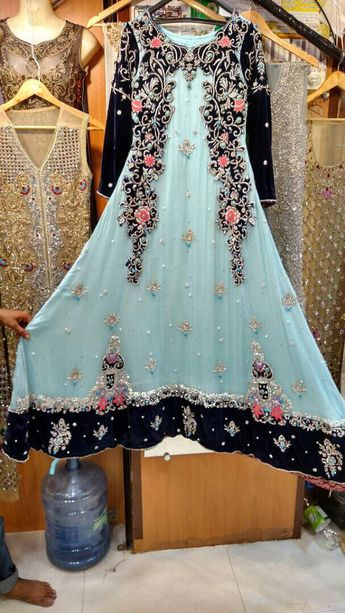 ae144b177f Blue Maxi Dress- Pakistani Wedding Formal, Chiffon, Hand-Embroidered Maxi  Dress-