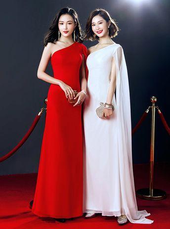 Simple One Shoulder Floor Length Prom Dress