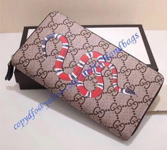 0777444660e9 Gucci Kingsnake Print GG Supreme Zip Around Wallet with Black Leather Trim