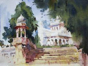 "Saatchi Art Artist Vikrant Shitole; Painting, ""Jaswant Thada, Jodhpur"" #art"