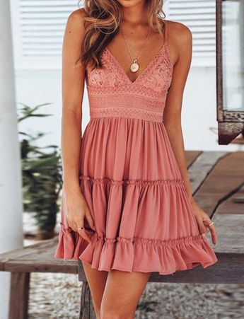 Cute Back Tie Solid Color Mini Braced Dress