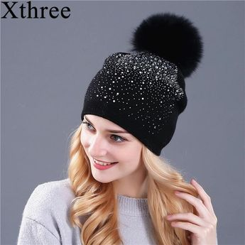a43977cac4c03  Xthree  women winter beanie hat Rabbit fur wool knitted hat the female of  the