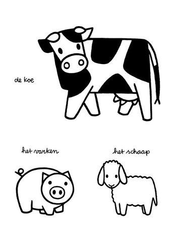 Kleurplaat Boer Koeien Boerderij Kleurplaten Nl