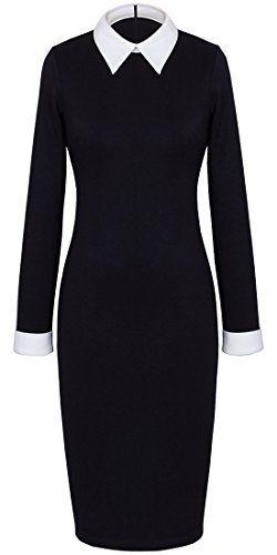 75e59b2c HOMEYEE Women's Celebrity Turn Down Collar Business Bodycon Dresses