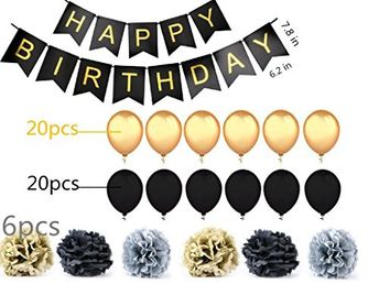 """Black Happy Birthday Bunting Banner with Shimmering Gold Letters -(40pcs)12"""" Ballons For Party -(6pcs)10""""Flower Balls- Birthday Decorations, -1st,16th,21st,27th,30th,40th,50th,60th,and any birthday"""