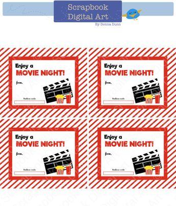 image regarding Redbox Teacher Appreciation Printable referred to as Printable Video clip Evening Appreciation Redbox Reward Card Holder