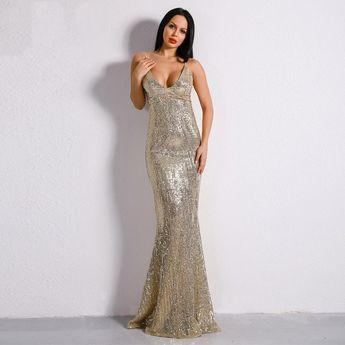 3c297416 Fashion Genie Boutique @genieboutique. 46w 5. Prima Donna Gold Sequin  Fishtail Maxi Dress