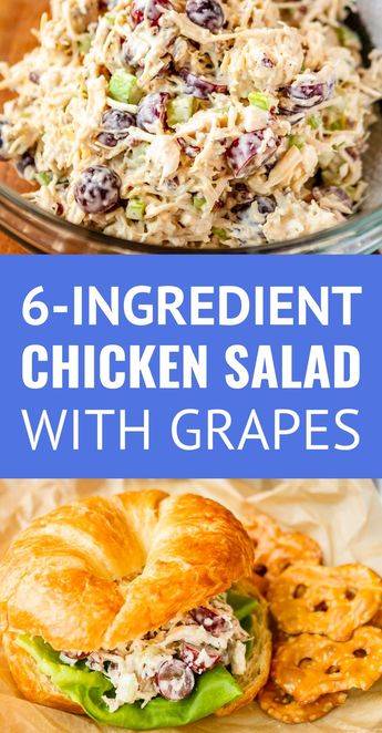 Chicken Salad with Grapes and Pecans -- this easy chicken salad recipe, filled with fresh grapes and roasted pecans, makes a quick, delicious, and satisfying meal! A simple 6-ingredient recipe that makes the BEST chicken salad sandwich! | greek yogurt chicken salad | canned chicken salad recipe | best chicken salad sandwich recipe | chicken salad recipe with grapes #chickensalad #chickensaladrecipe #easyrecipe