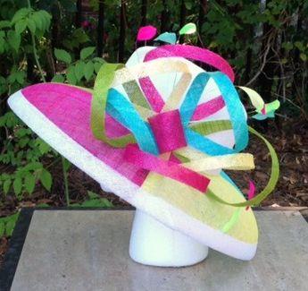 da1ce87ff46 Multi Color Wide Brim Sinamay Hat