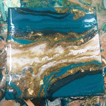 """Turquoise and gold geode. 10""""x10"""" with 24k gold flakes. Resin and acrylic."""