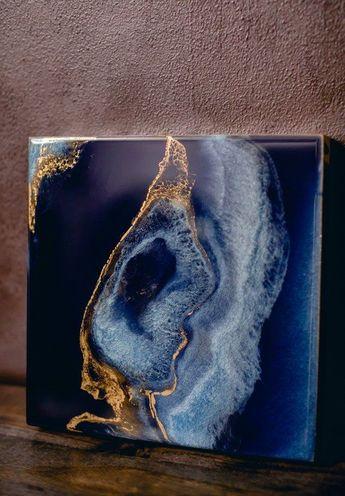 Deep Blue and Gold Geode Art - #Art #Blue #Deep #Geode #gold