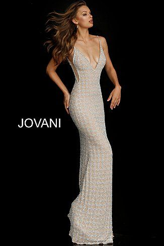 Nude Silver Beaded V Neck Couture Dress 60409