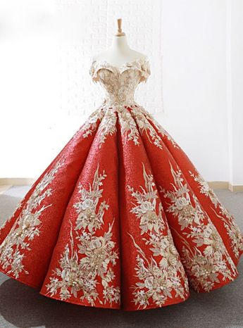 Red Sequins Ball Gown Appliques Off The Shoulder Wedding Dress