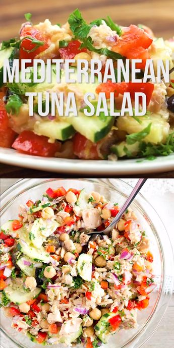 Mediterranean Tuna Salad - so much flavor and so easy to put together! This mayonnaise-free tuna salad is naturally gluten-free, paleo and low carb. #glutenfree #lowcarb #healthy #summersalad