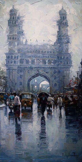 charminar-wet-st (Painting),  18x36 in by Iruvan karunakaran charminar st,