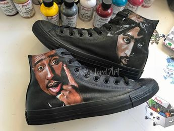 50954d987e2 Custom Painted 2Pac Tupac inspired Converse Hi Tops   Vans shoes sneakers.    Advance
