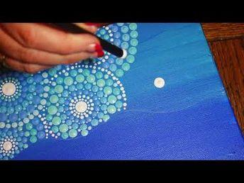 Elspeth McLean painting a Jewel Drop Mandala Stone - YouTub