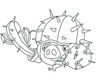Angry Birds Epic Coloring Page Knight Pig