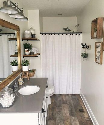 You don't have to completely gut a room to redo it. @our_backwoods_farm transformed her bathroom to have farmhouse style by repainting and… #Teengirlbedroomideas