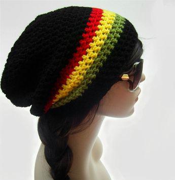 263a0ec5ae4 Rasta Slouch Hat Slouch Hat Unisex Slouchy Beanie Red Yellow Green  Rastafarian Boho Hat Hippie Hat