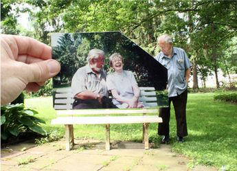 A man looking back on the times he spent with his wife on this bench.
