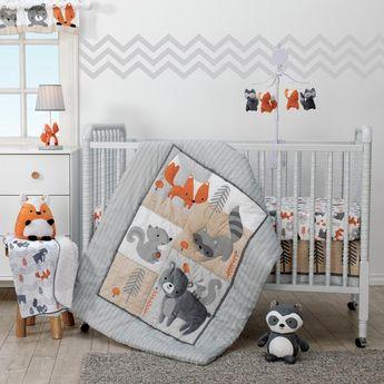 6708dc684b9 Acorn White/Gray/Orange/Beige Woodland Fox, Raccoon & Bear 4-