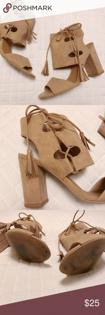 472162698a3a02 Nude Sandals🎀 Nude faux suede sandals with tassel details Charlotte Russe  Shoes Sandals