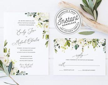 9455267e89b53 Printable vintage ivory wedding invitation with green leav