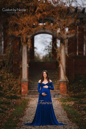 f9a6f5cf01199 Darah Royal Blue Maternity Dress,Off Shoulders, Long Sleeves Maternity,  Baby Shower,