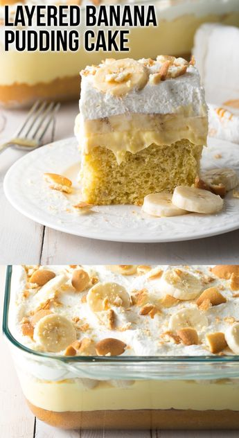 Layered Banana Pudding Cake: This ultra moist banana cake recipe is topped with creamy pudding, fresh bananas, whipped cream, and vanilla wafers. It's easy to make, and so inviting! #ASpicyPerspective #puddingcake #bananacake via @spicyperspectiv