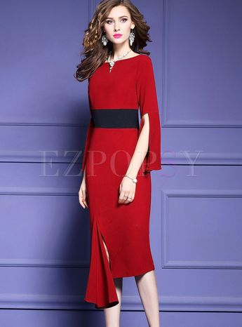 Sexy Slash Neck Long Sleeve Slit Irregular Skinny Dress