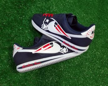 2d13be0bd6d665 Bandana Fever New England Patriots Print Custom Navy White Nike Cortez Shoes