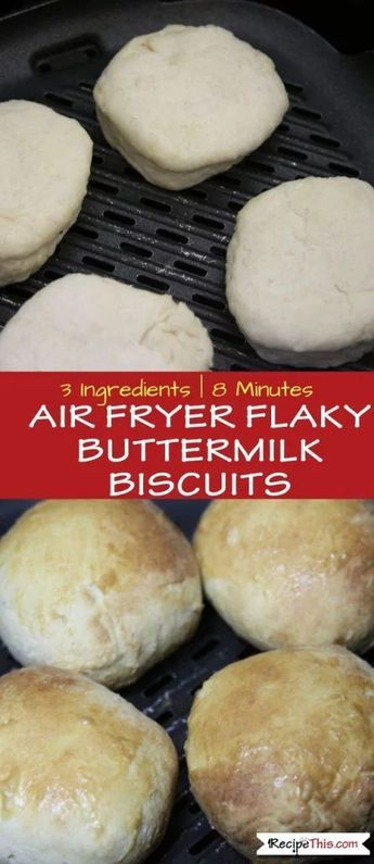 Air Fryer Flaky Buttermilk Biscuits - Now these are the real deal and you must try these in the #airfryer :) #airfryerrecipes #buttermilkbiscuits