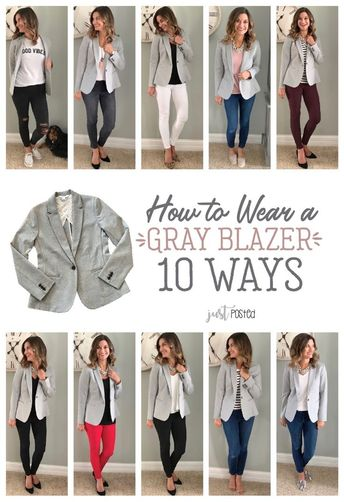 How to wear and style 1 gray blazer 10 different ways! This knit blazer is perfect to dress up or down! It is a great piece for a casual look or work look. And, the best part is that it is super comfortable! This is a perfect item for a capsule wardrobe!