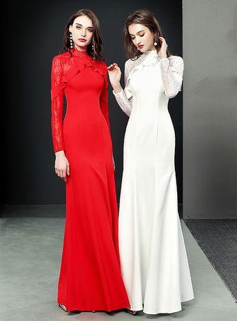 Mermaid Long Sleeve Satin Lace Floor Length Prom Dress