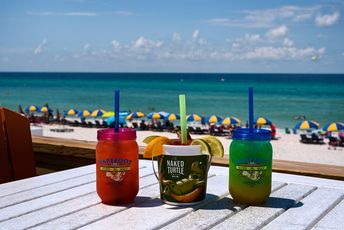 Drinks with a view at Barefoot Hide A Way ~ Panama City Beach, FL #PanamaCityBeach #beach #vacation