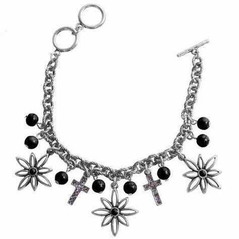 Flower Cross Silver Women's Bracelet