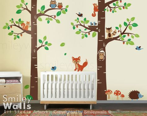 Wall Art Decal - Forest Animals wall decal Tree Tops Woodland Critters - Children Nursery Kids Playroom Vinyl Wall Decal Sticker by smileywalls on Etsy