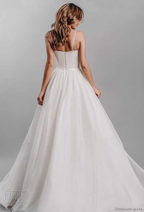 stephanie allin 2019 bridal sleeveless spaghetti strap sweetheart neckline ruched bodice romantic soft a  line wedding dress mid back sweep train (5) bv -- Stephanie Allin 2019 Wedding Dresses | Wedding Inspirasi #wedding #weddings #bridal #weddingdress #bride ~