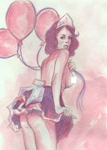Nude Birthday Pinup 5x7 Print by BarrySachsBarryGood on Etsy, $6.00
