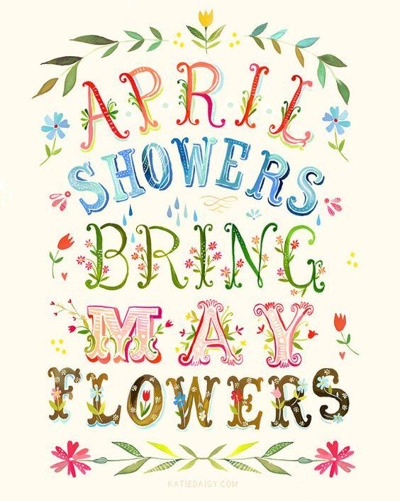 April Showers art print Inspirational Wall Art by thewheatfield