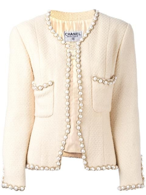 Chanel Vintage faux pearl trim jacket