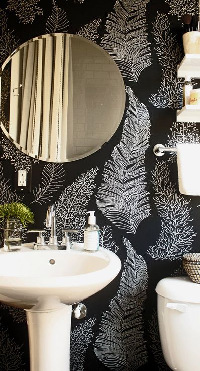 Bold Print Wallpaper Bathroom