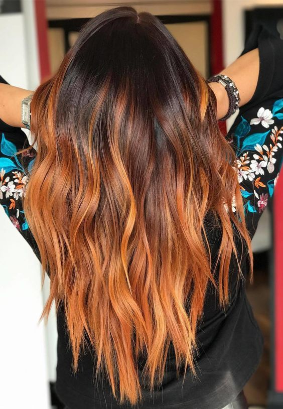 Best ideas of red ombre fire or flame ombre hair colors and highlights for women 2017.
