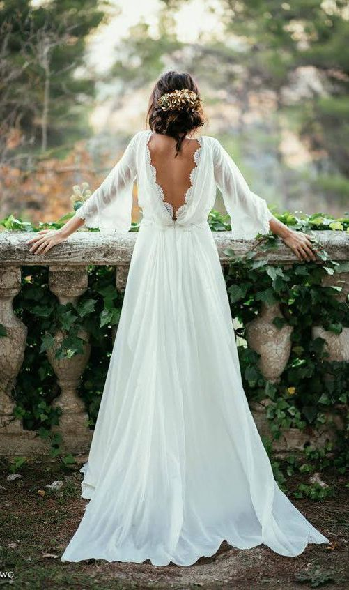Chiffon elegant wedding dress,sexy long sleeves and flirty peek-a-boo back wedding dress,Backless dress