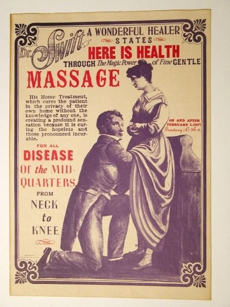 """Dr. Swift's massage treatments From the time of Hippocrates, the term """"hysteria,"""" or literally """"womb disease,"""" has been considered a female disorder, and the symptoms were many, including anxiety, insomnia, swooning (or perhaps petit mal seizures), and almost any abdominal discomfort. Some physicians treated this """"disease"""" of female patients their office."""