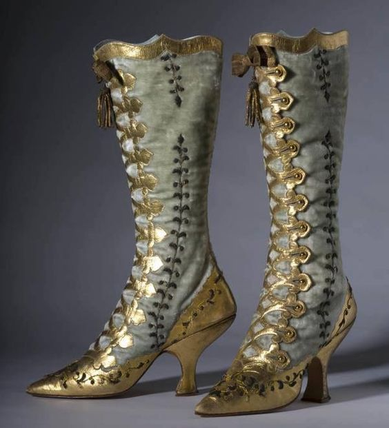 "tweed-eyes: ""Jawdropping velvet and gold leather button boots. 1870 """