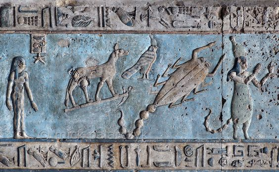 [EGYPT 29588] 'Scorpio on astronomical ceiling at Dendera.' A giant scorpion with curved tail portrays the zodiac sign Scorpio on the astronomical ceiling in the outer hypostyle hall of the Hathor Temple at Dendera. The ceiling consists of seven separate strips but here we are looking at a detail of the upper register of the WESTERNMOST STRIP. There are six zodiac signs depicted in the entire westernmost strip (see picture 29585 till 29590) and the other six can be found on the easternmost ...